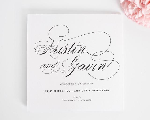 Script Elegance Wedding Program Elegant Classic Wedding