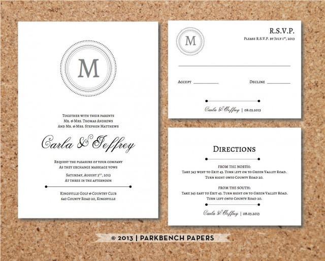 Editable Wedding Invitation Rsvp Card And Insert Clic Monogram Style Word Template Instant Printable 2491494 Weddbook
