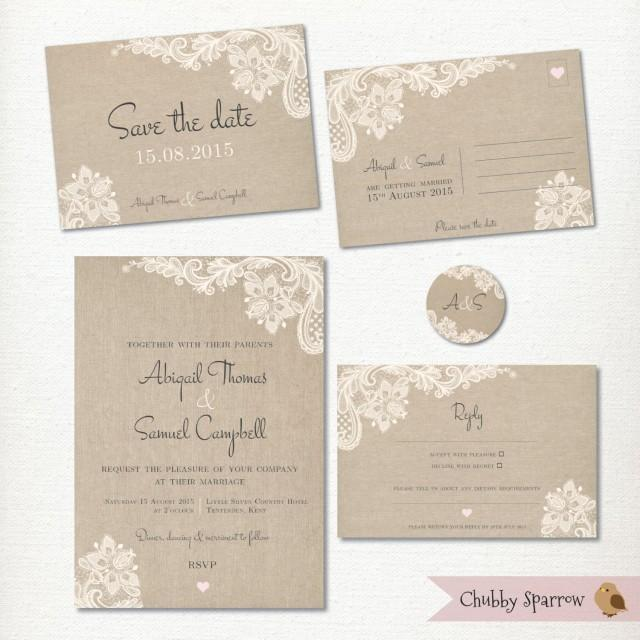 Wedding Invitation Save The Date Postcard Lace And Linen Rsvp 2