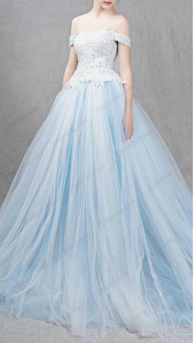 IS041 Ocean Light Blue Colored Princess Ball Gown Wedding Dress ...
