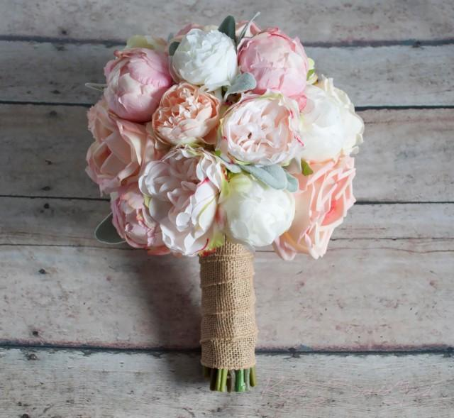Garden Rose And Peony Bouquet peach ivory and blush peony and garden rose wedding bouquet with