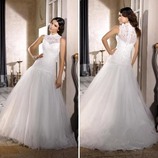 Affordable Wedding Gowns Online: Fashion Lace High Neck Wedding Dresses 2016 Sheer A-Line