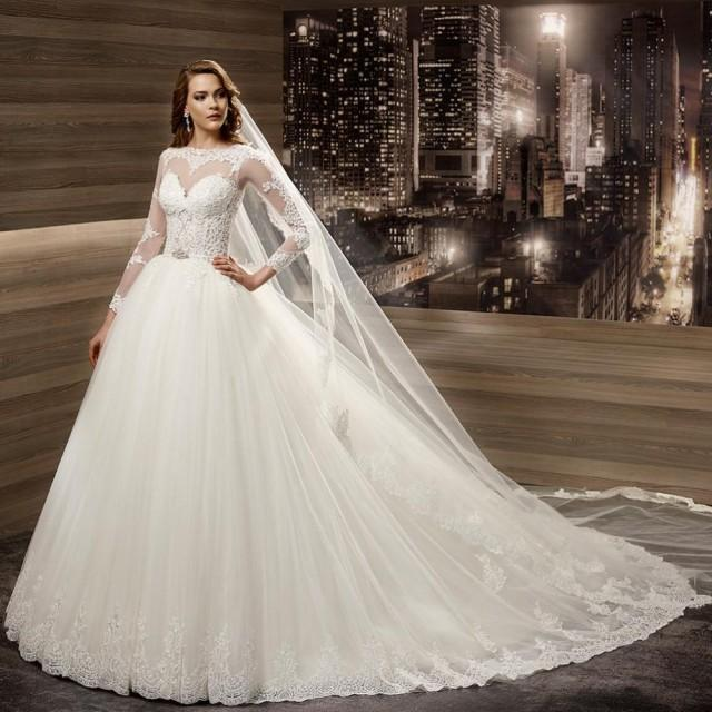 New arrivals wedding dresses 2016 europe illusion sheer for Tulle skirt wedding dresses