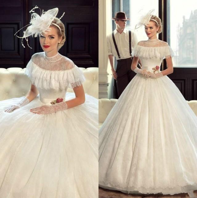 Vintage Victorian Wedding Dresses: Princess Victorian Wedding Dresses Lace 2016 Sheer Short