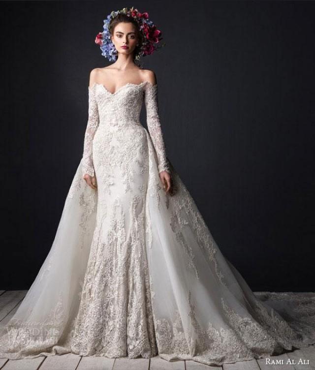 Luxury Beads Appliques Long Sleeves Lace Mermaid Wedding