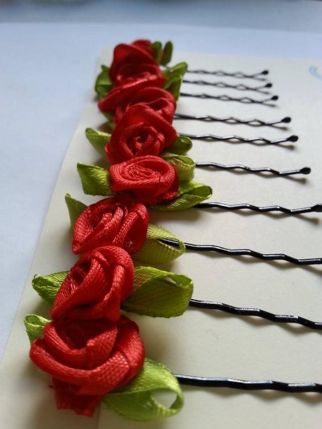 Kirby Grips,Festival,Bridesmaid,Flower Girl,Boho,Vintage Rose Flower Hair pins