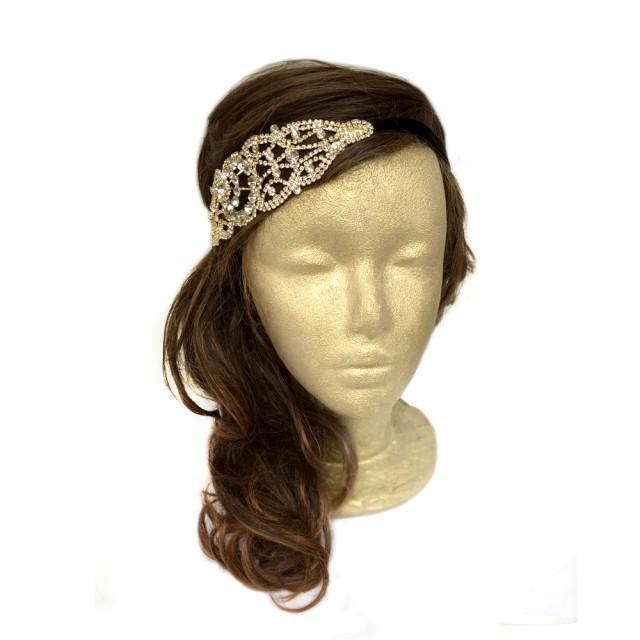 1920s Headpiece Bridal Tiara Gold Flapper Headband