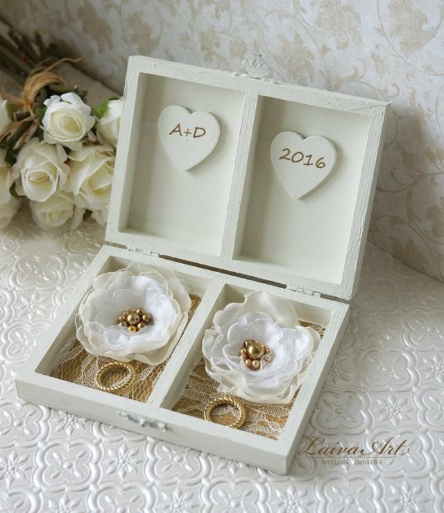 Personalized Ring Bearer Box Gold Wedding Ring Bearer