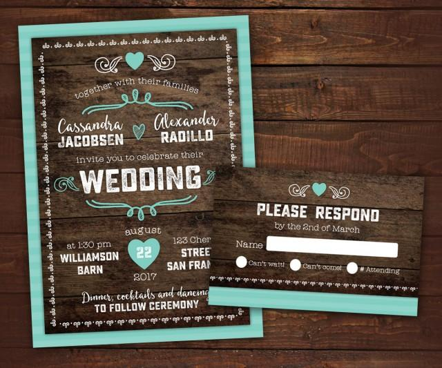 10 Country Rustic Wedding Invitations With RSVP, Barn Wedding, Wood Wedding  Invitation, Any Color, Envelopes Included #2493331   Weddbook