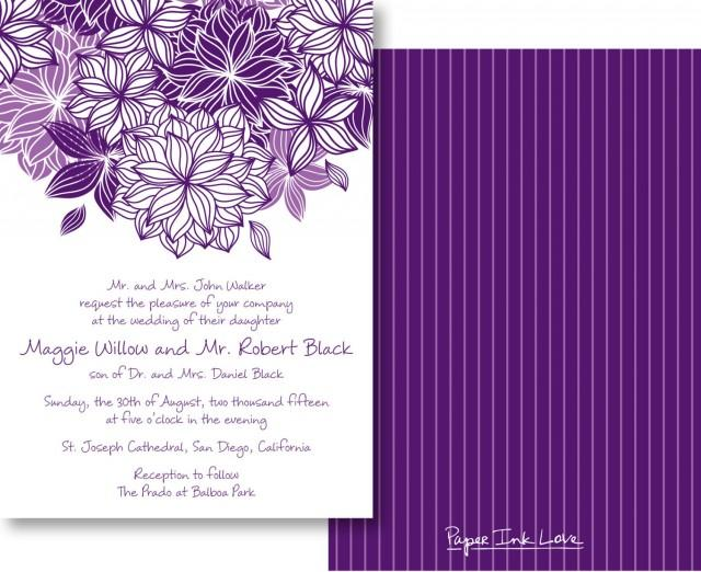 Wedding Invitations With Modern Purple Flower Pinstripes Save The