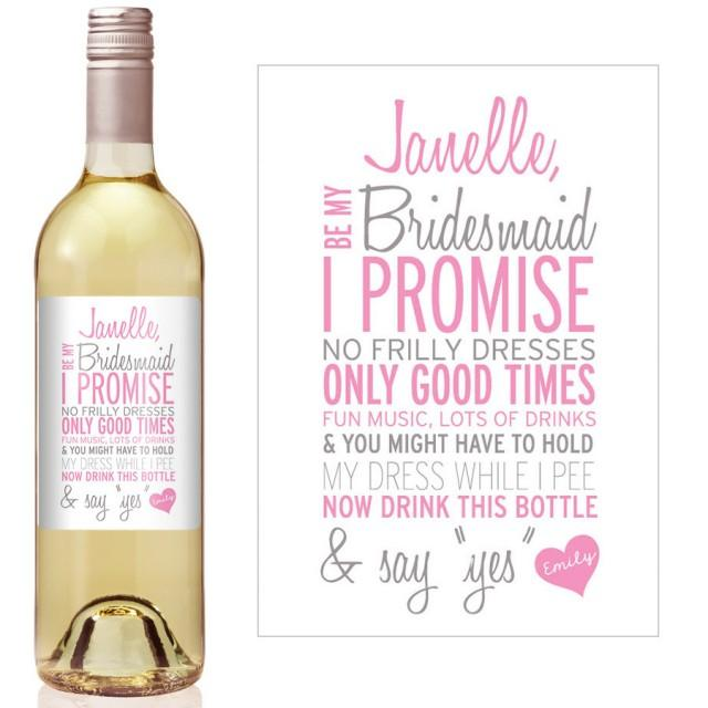 Custom Bridesmaid Proposal Gift Bridesmaid Wine Bottle
