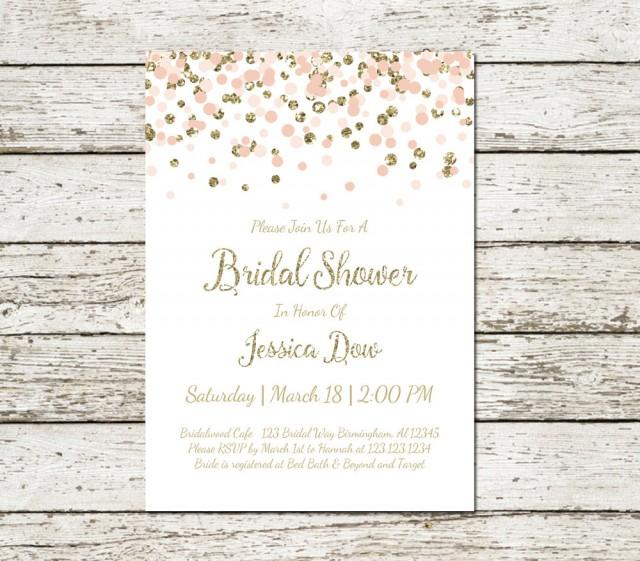blush pink and gold bridal shower invitation printable confetti glitter elegant classy wedding digital file chic simple 2493447 weddbook