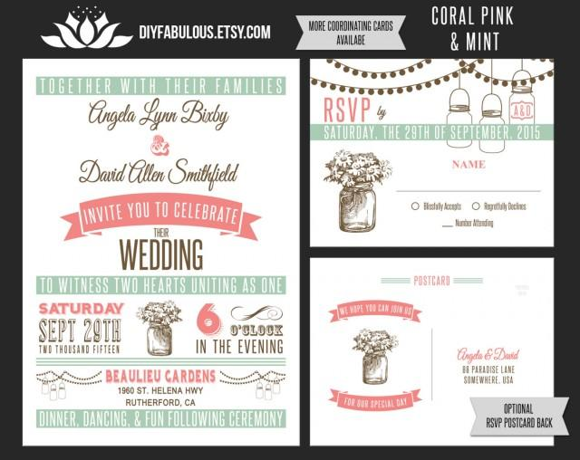NEW Vintage Mason Jar Wedding Invitation Printable Coral Pink Mint