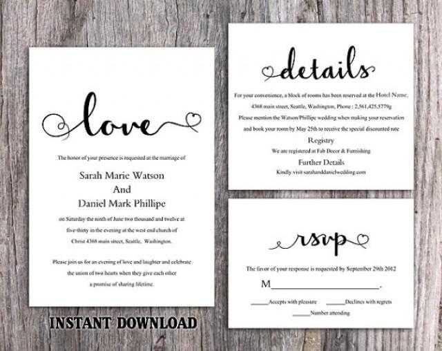 diy wedding invitation template set editable word file download