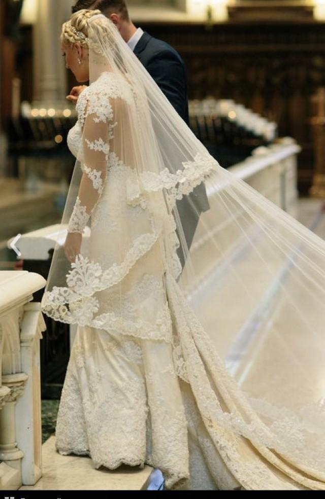 Veil Beaded Lace Custom Drop Mantilla Royal Wedding Bridal Bespoke Theresa 2494173 Weddbook