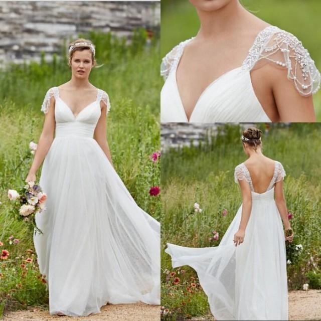 Garden Lihi Hod Wedding Dresses V Neck Cap Sleeve Low Back Pearls Beading Sequins Lace Chiffon Beach Boho Bohemian Bridal Ball Gowns Online With