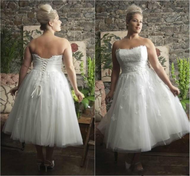 Spring plus size tea length wedding dresses a line beach for Sweetheart tea length wedding dress