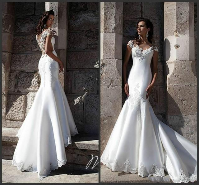Satin And Lace Wedding Gowns: Graceful White Satin Mermaid Wedding Dresses Sheer