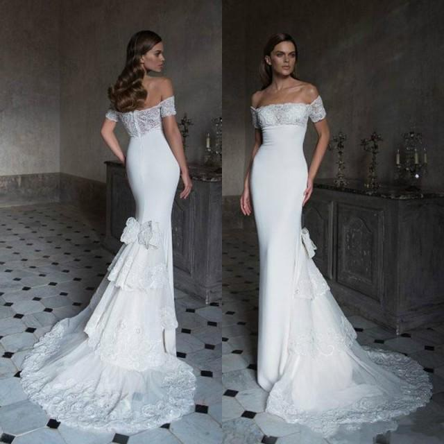 Sexy 2016 Lace Mermaid Wedding Dresses White Fitted Bodice