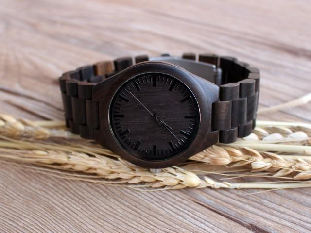 Fifth Wedding Anniversary Gifts For Men: Personalized Wooden Watch Engraved Anniversary Gift For