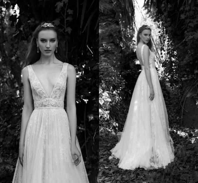 Graceful Sheath Wedding Dresses 2015 Summer A Line V Neck: 2016 Gali Karten Lace Backless Beach Wedding Dresses Sexy