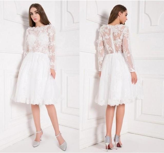 Stunning short 2016 sheer long sleeves wedding dresses for Knee length fitted wedding dresses