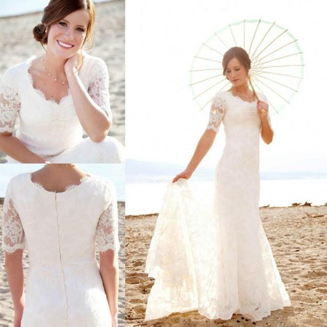 Short Sleeve Lace Wedding Dresses 2016 Chiffon Simple: Modest Short Sleeves Wedding Dresses With Applique