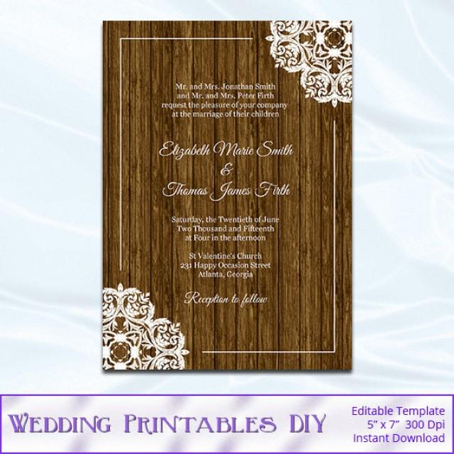 Rustic Wood Wedding Invitation Template, Diy Printable ...