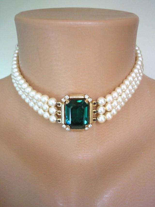 Emerald Necklace Bridal Necklace Statement Pearl Necklace Great Gatsby Rosita Pearl Choker
