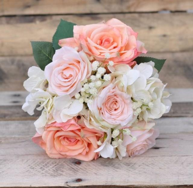 Silk Wedding Bouquet Keepsake Peach Rose White Hydrangea And Babies Breath 2495018 Weddbook