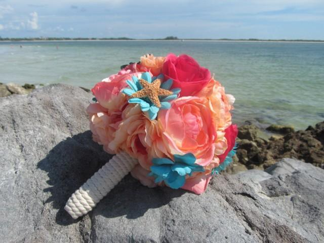 Coral And Teal Flower Bridal Bouquet Bridesmaid