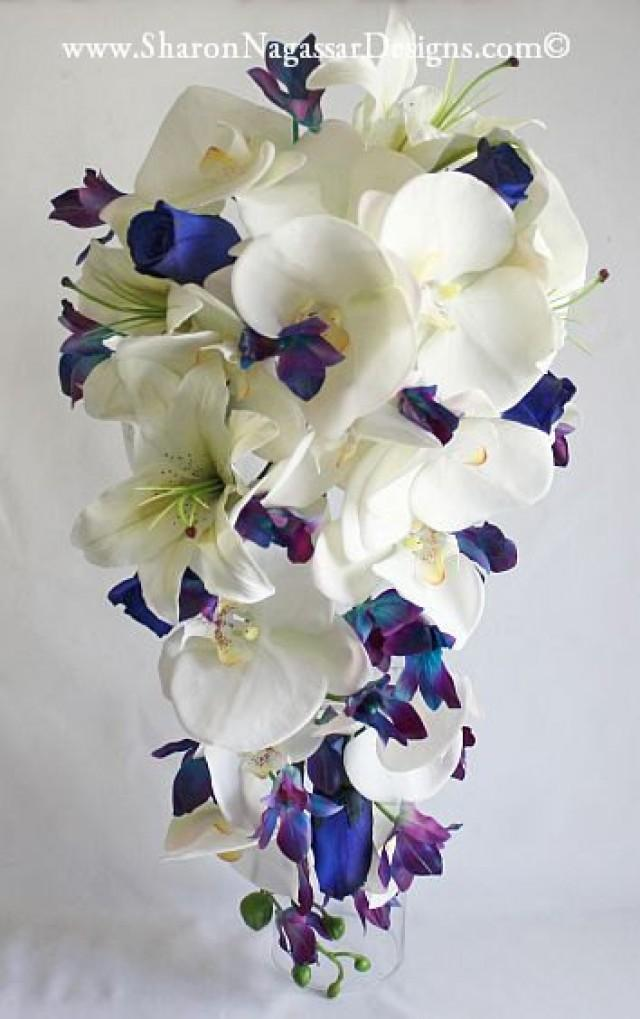 Blue Orchids Cascade Cascading Bouquet Real Touch