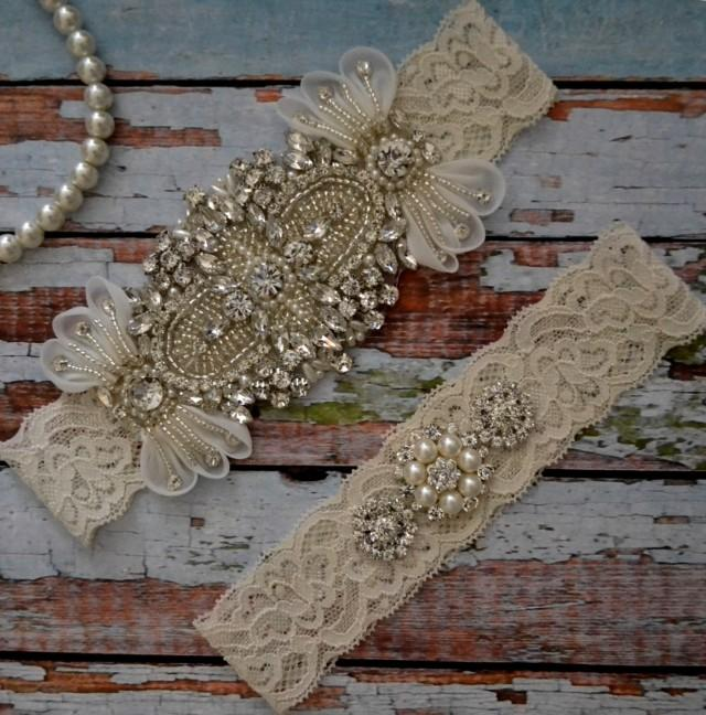 Wedding Garter, Elegant Wedding Garter Set, Rhinestone