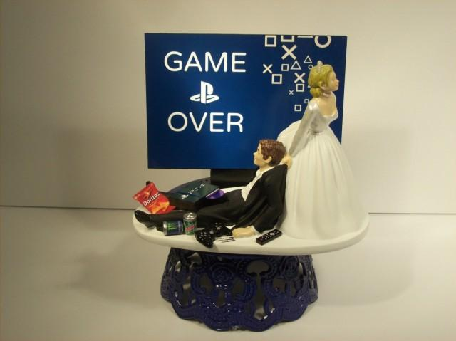 Game Over Bride And Groom Playstation Funny Wedding Cake