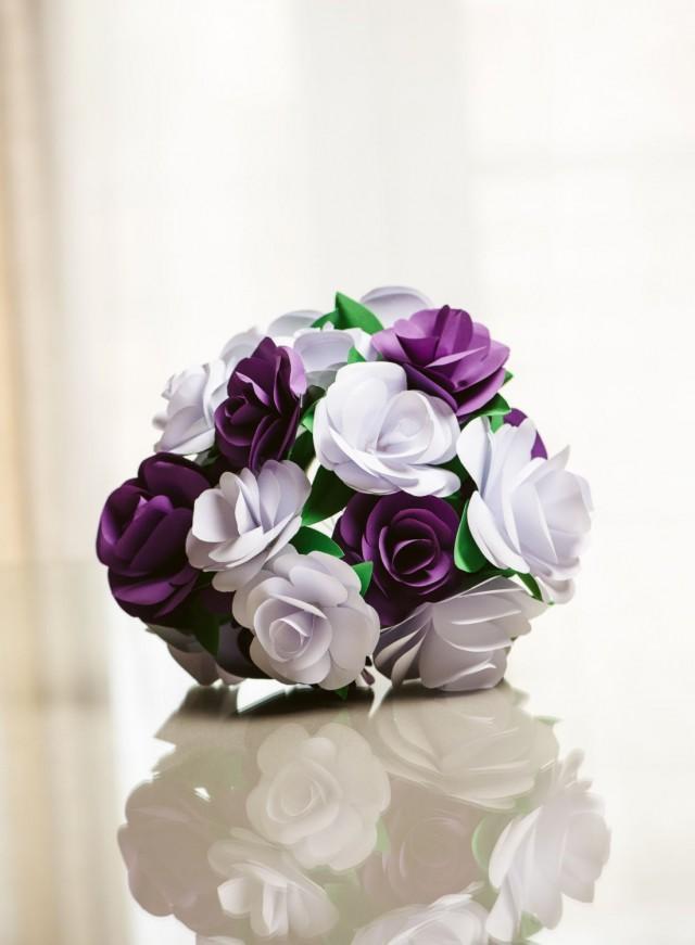 paper flower bouquet  purple and white paper rose  wedding bouquet  bridesmaid bouquet  throw