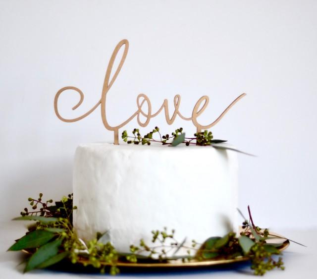 Love cake topper wedding cake decoration wedding sign for Decoration maison rose gold
