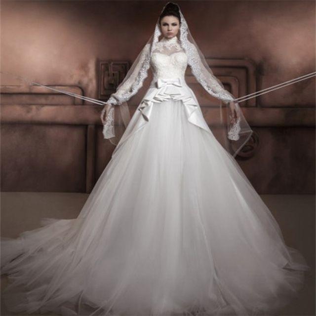 New design long sleeve muslim wedding dress 2016 high neck for New look wedding dresses