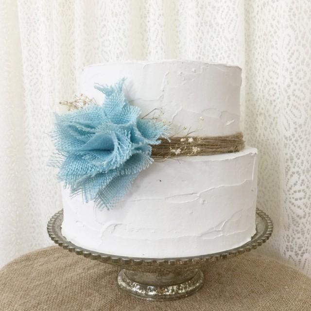 Rustic Cake Topper Burlap Cake Topper Shabby Chic Cake: Burlap Cake Topper Idea, Aqua Blue Burlap Flower, Rustic