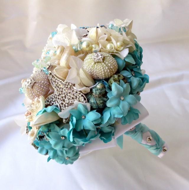 Seashell Wedding Bouquet Light Blue Brooch Bouquet Beach