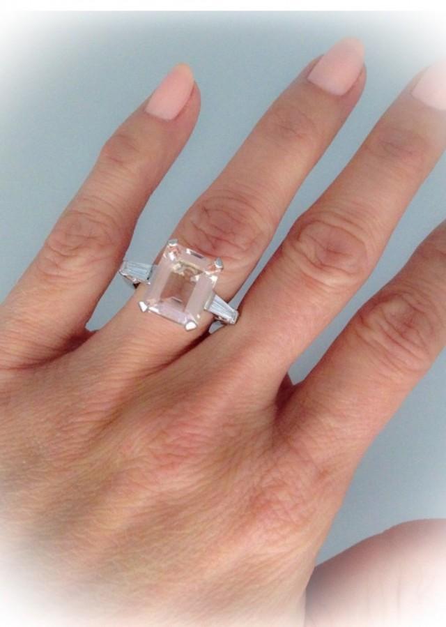 Art Deco Morganite Engagement Ring 6 0tw 18k White Gold