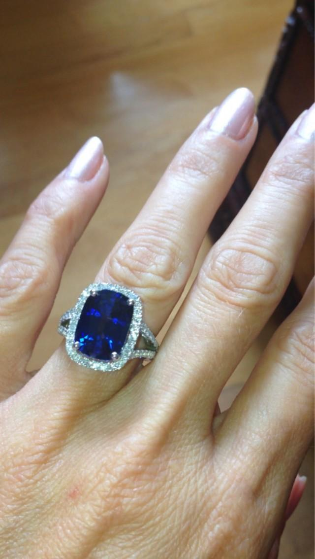 Sapphire Engagement Ring 14kt White Gold Halo 13x9 Ceylon Blue Sapphire  Cushion Cut FSI1 Diamonds .76ct Engagement Wedding Ring #2496521   Weddbook