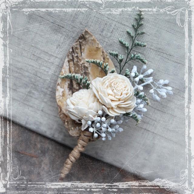 Birch Forest Boutonniere Rustic Elegant Weddings