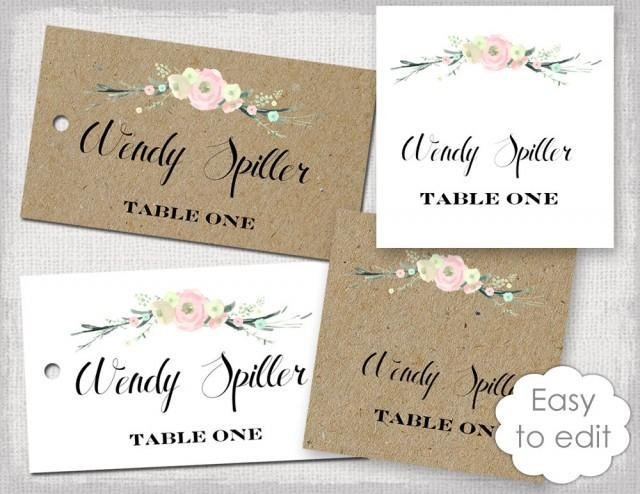 "Rustic Name Card Template ""Rustic Flowers"" Blush Pink"