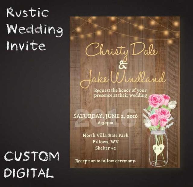 Digital Wedding Invitation Ideas: Rustic Mason Jar Wedding Invite Wooden Lights Roses
