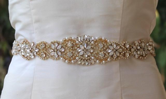 Gold Bridal Sash, White Opal Gold Sash, Milk Opal Crystal