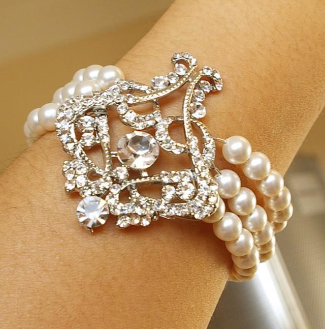 Art Deco Style Filigree Bridal Bracelet Pearl Wedding