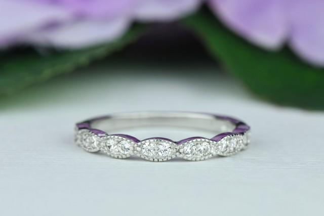 Wide Art Deco Wedding Band Vintage Style Engagement Ring