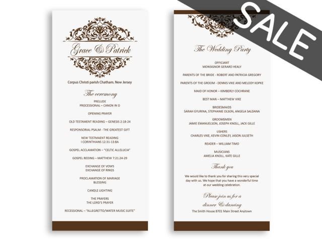 sale wedding program template download - wedding programs instant download