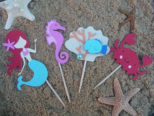 Mermaid Cupcake Toppers Set Of 8 Under The Sea Theme Birthday Party