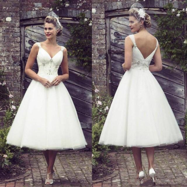 Vintage Lace Tea Length Beach Wedding Dress Short Sleeves: New Arrival Short Lace Wedding Dresses Garden V Neck 2016
